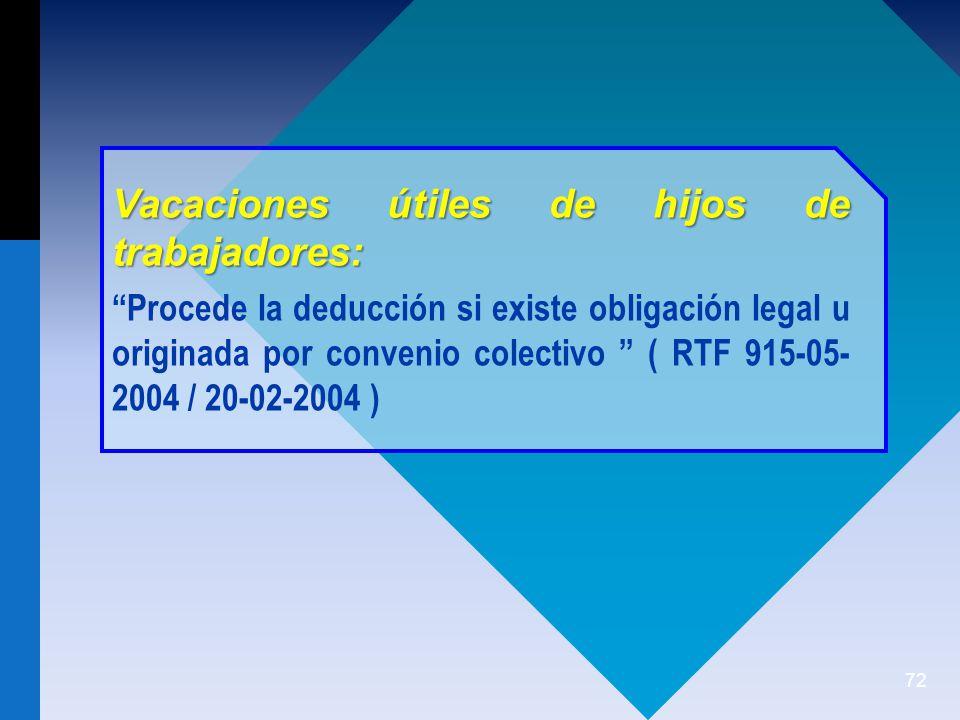 72 Vacaciones útiles de hijos de trabajadores: Procede la deducción si existe obligación legal u originada por convenio colectivo ( RTF 915-05- 2004 / 20-02-2004 )