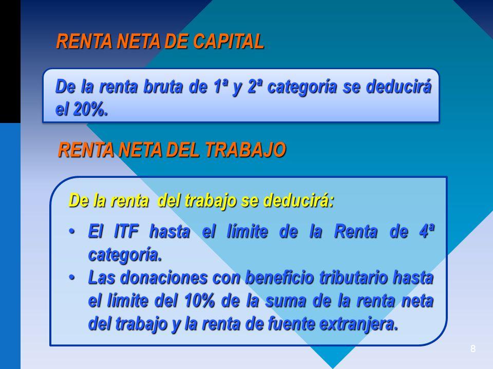 8 RENTA NETA DE CAPITAL De la renta bruta de 1ª y 2ª categoría se deducirá el 20%.