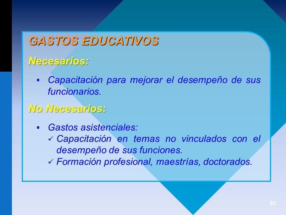 80 GASTOS EDUCATIVOS Necesarios: Capacitación para mejorar el desempeño de sus funcionarios.