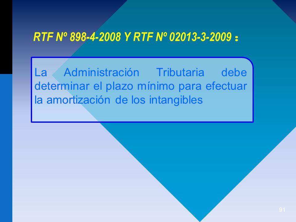 91 La Administración Tributaria debe determinar el plazo mínimo para efectuar la amortización de los intangibles RTF Nº 898-4-2008 Y RTF Nº 02013-3-2009 :