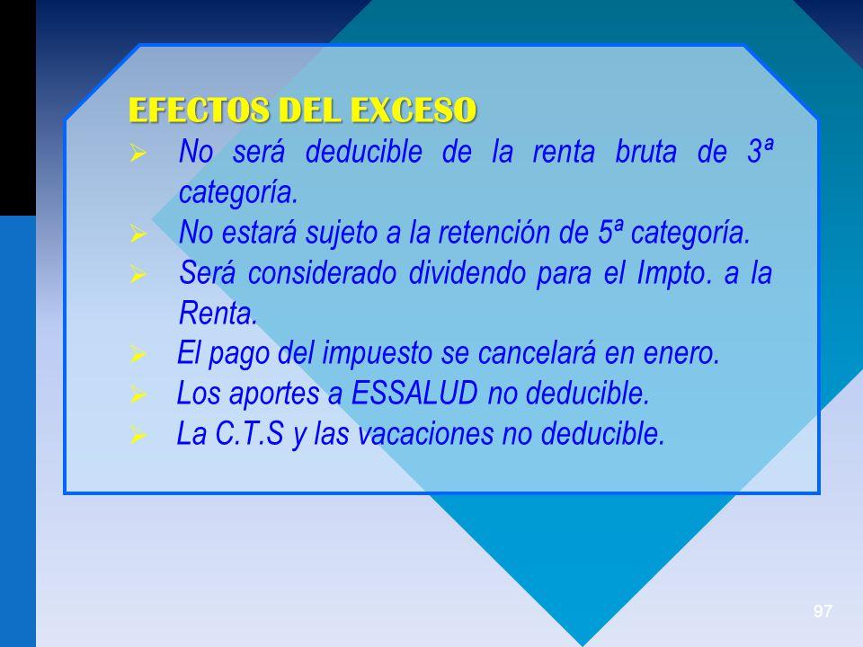 97 EFECTOS DEL EXCESO No será deducible de la renta bruta de 3ª categoría.