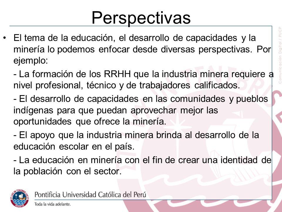 Perspectivas El tema de la educación, el desarrollo de capacidades y la minería lo podemos enfocar desde diversas perspectivas. Por ejemplo: - La form
