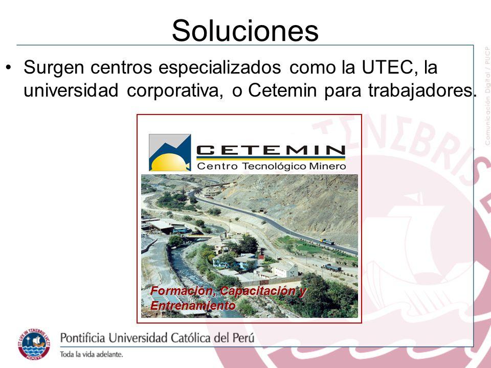 Soluciones Surgen centros especializados como la UTEC, la universidad corporativa, o Cetemin para trabajadores. Formación, Capacitación y Entrenamient
