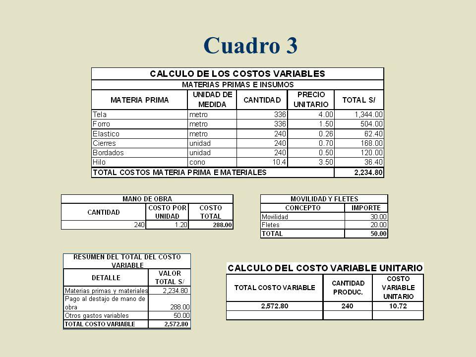 CUADRO 2 CALCULO DE COSTOS VARIABLES CASACAS Materia prima e insumos Mano de obra