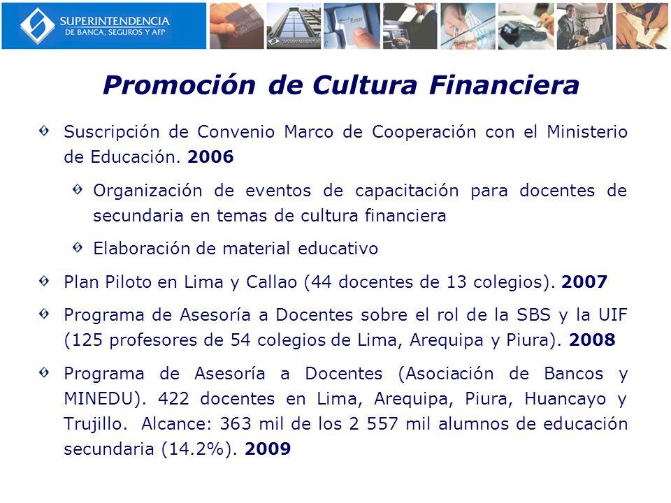 Promoción de Cultura Financiera Suscripción de Convenio Marco de Cooperación con el Ministerio de Educación. 2006 Organización de eventos de capacitac