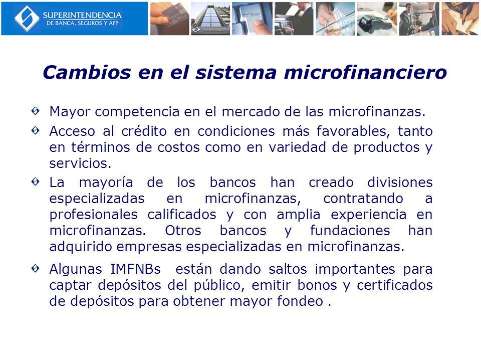 Cambios en el sistema microfinanciero Mayor competencia en el mercado de las microfinanzas. Acceso al crédito en condiciones más favorables, tanto en