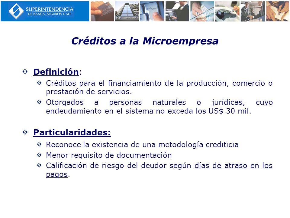 Créditos a la Microempresa Definición: Créditos para el financiamiento de la producción, comercio o prestación de servicios. Otorgados a personas natu