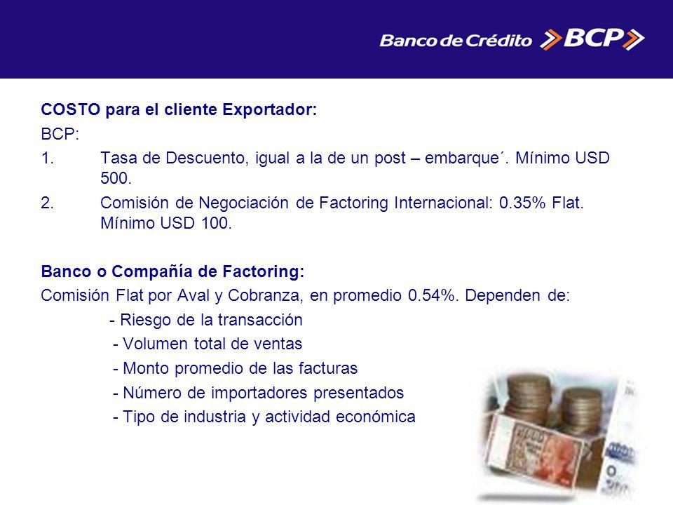 COSTO para el cliente Exportador: BCP: 1.Tasa de Descuento, igual a la de un post – embarque´.