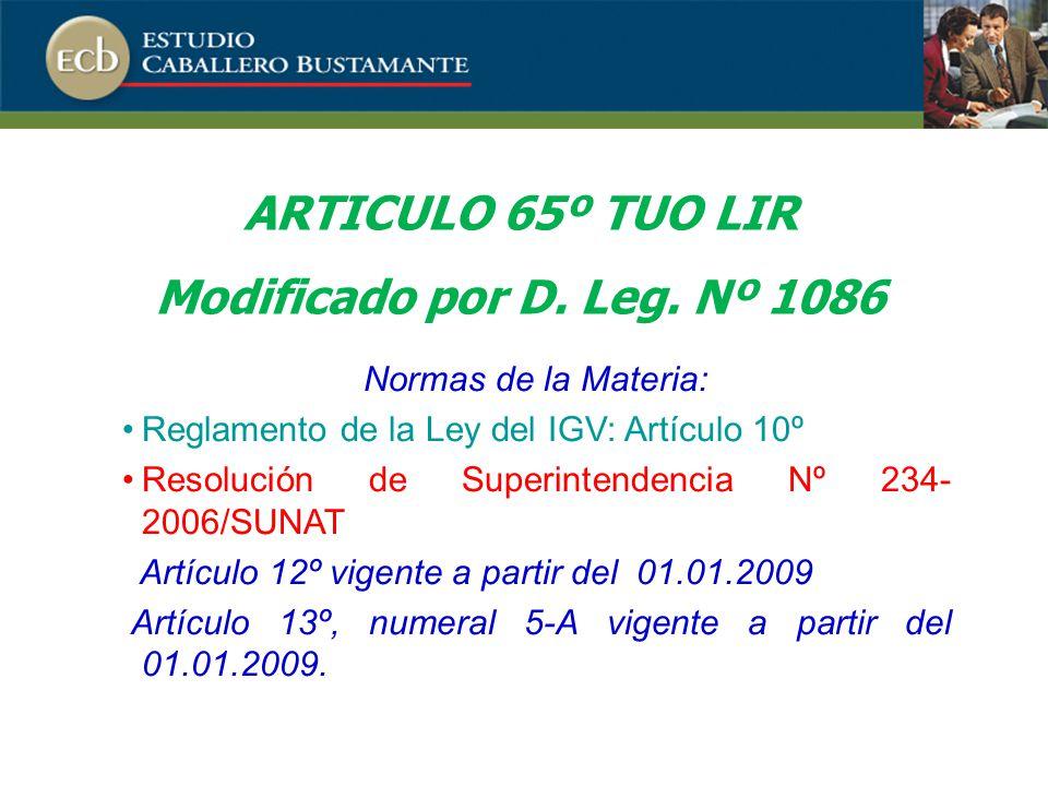 ARTICULO 65º TUO LIR Modificado por D.Leg.