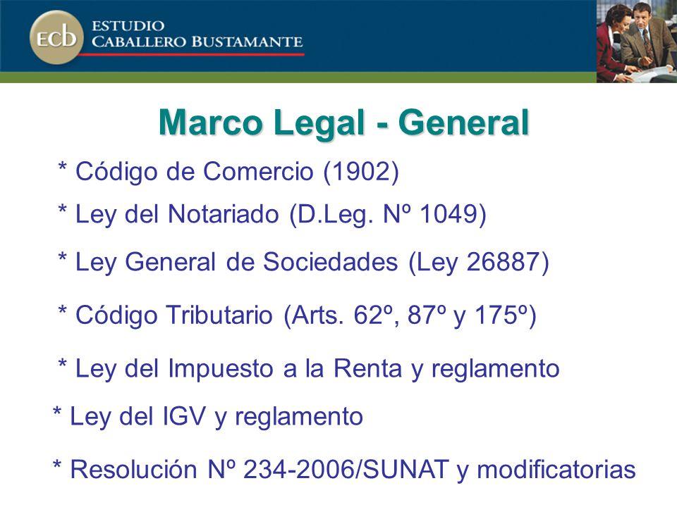 Marco Legal - General * Ley General de Sociedades (Ley 26887) * Código de Comercio (1902) * Ley del Notariado (D.Leg.