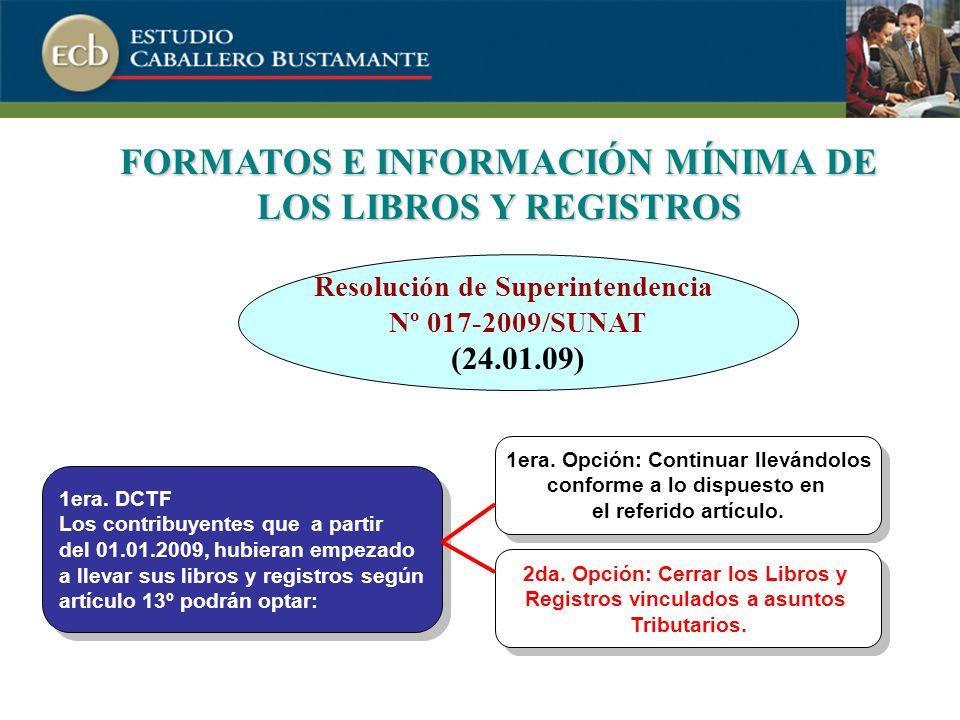 FORMATOS E INFORMACIÓN MÍNIMA DE LOS LIBROS Y REGISTROS 1era.