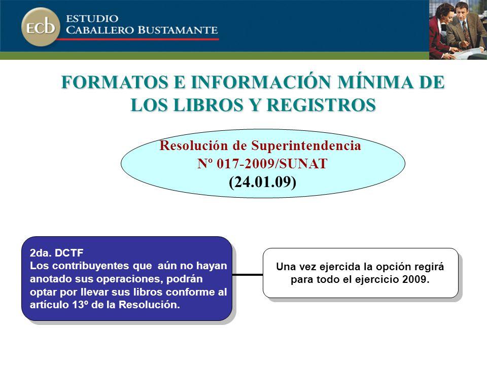 FORMATOS E INFORMACIÓN MÍNIMA DE LOS LIBROS Y REGISTROS 2da.