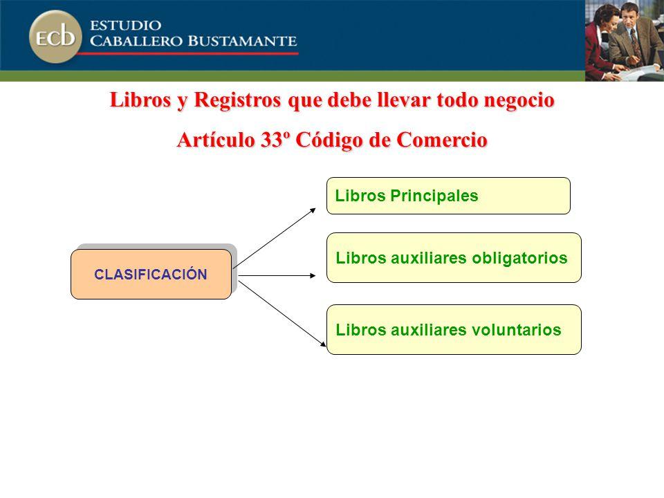 CLASIFICACIÓN Libros auxiliares voluntarios Libros auxiliares obligatorios Libros Principales Libros y Registros que debe llevar todo negocio Artículo 33º Código de Comercio