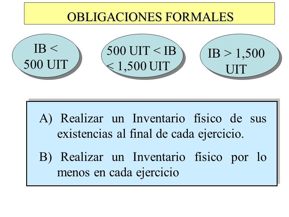 OBLIGACIONES FORMALES IB < 500 UIT A) Realizar un Inventario físico de sus existencias al final de cada ejercicio.