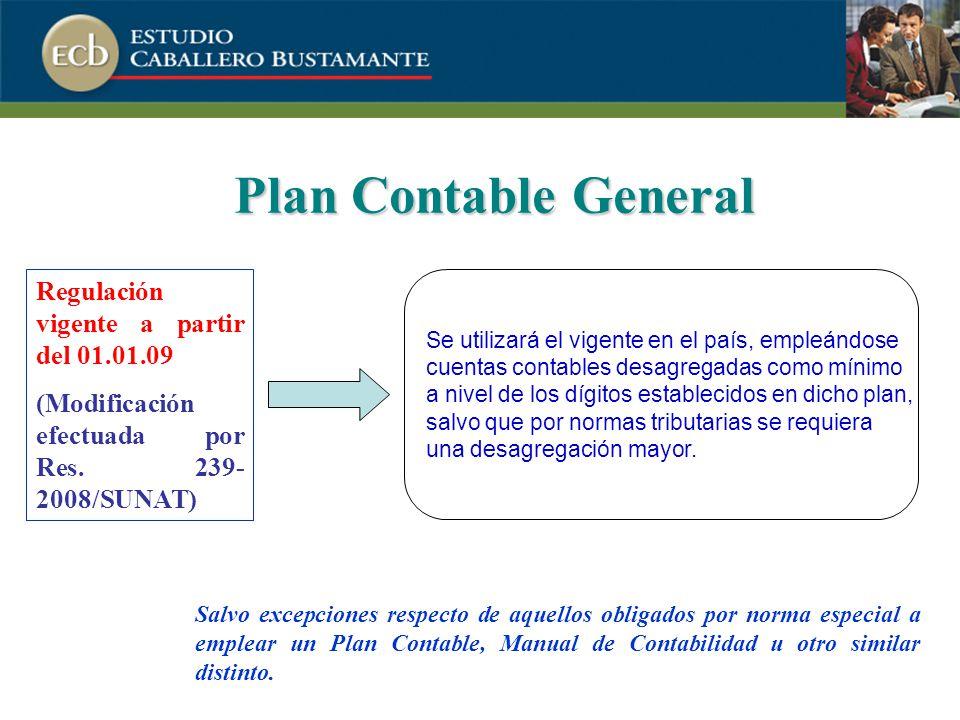 Plan Contable General Regulación vigente a partir del 01.01.09 (Modificación efectuada por Res.