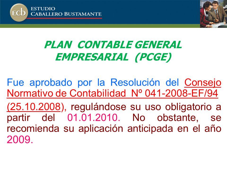 Fue aprobado por la Resolución del Consejo Normativo de Contabilidad Nº 041-2008-EF/94 (25.10.2008), regulándose su uso obligatorio a partir del 01.01.2010.