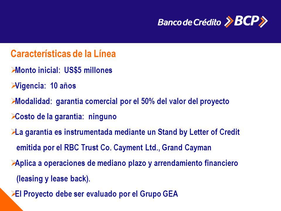 a Características de la Línea Monto inicial: US$5 millones Vigencia: 10 años Modalidad: garantía comercial por el 50% del valor del proyecto Costo de la garantía: ninguno La garantía es instrumentada mediante un Stand by Letter of Credit emitida por el RBC Trust Co.