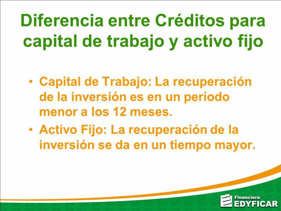 Diferencia entre Créditos para capital de trabajo y activo fijo Capital de Trabajo: La recuperación de la inversión es en un período menor a los 12 me