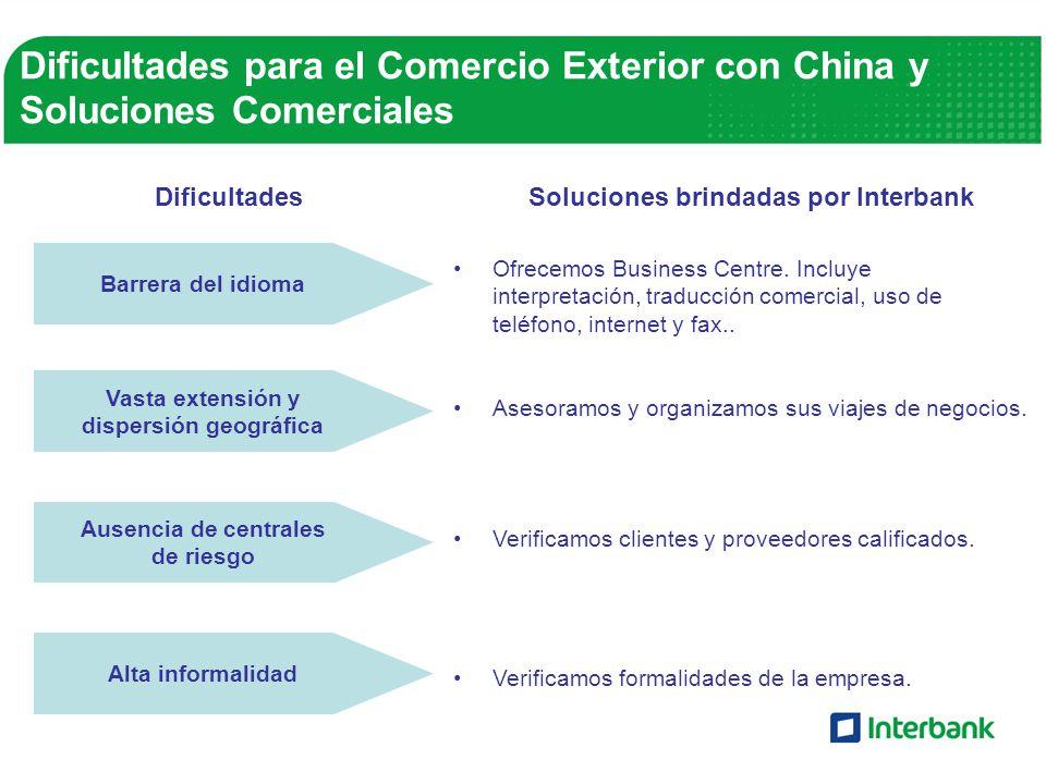 DificultadesSoluciones brindadas por Interbank Ofrecemos Business Centre. Incluye interpretación, traducción comercial, uso de teléfono, internet y fa