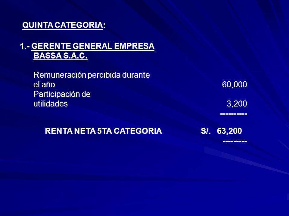 QUINTA CATEGORIA: 1.- GERENTE GENERAL EMPRESA BASSA S.A.C.
