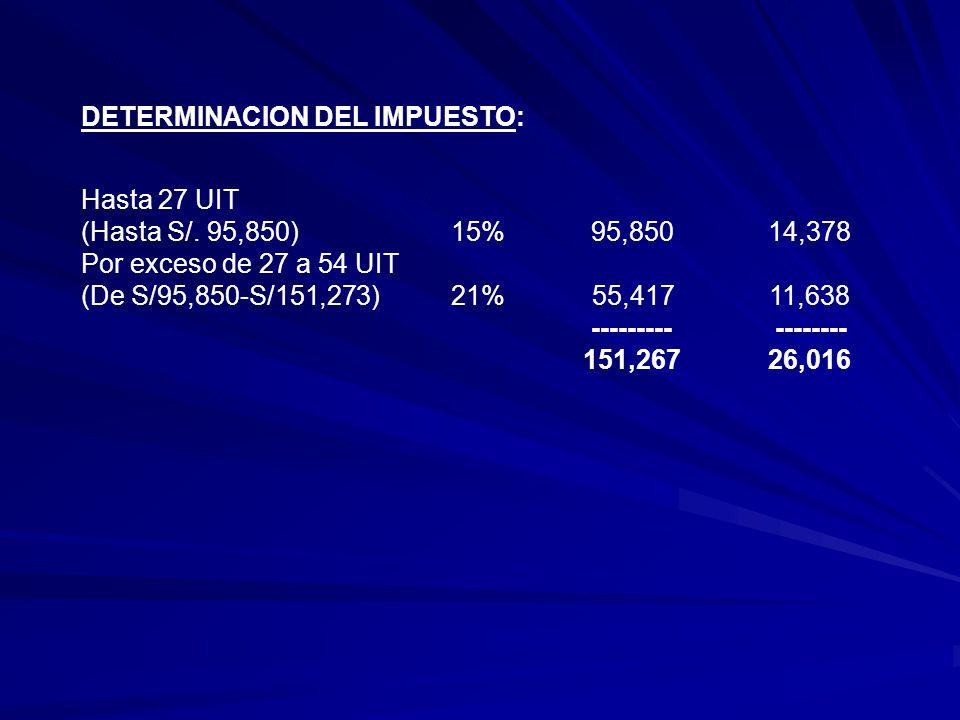 DETERMINACION DEL IMPUESTO: Hasta 27 UIT (Hasta S/.