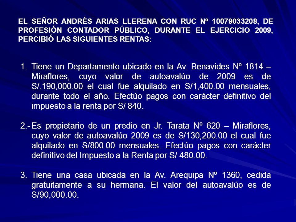 EL SEÑOR ANDRÉS ARIAS LLERENA CON RUC Nº 10079033208, DE PROFESIÓN CONTADOR PÚBLICO, DURANTE EL EJERCICIO 2009, PERCIBIÓ LAS SIGUIENTES RENTAS: 1.Tiene un Departamento ubicado en la Av.