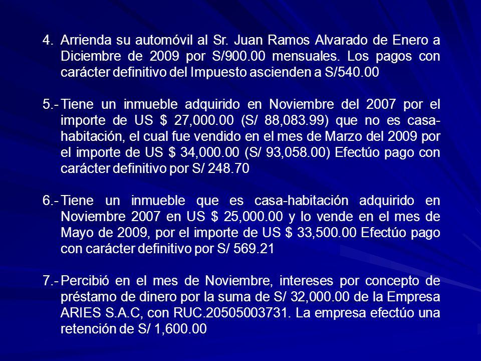 8.Percibió intereses en el mes de Diciembre por la venta a plazos del vehículo marca NISSAN, placa Nº AGT 756 a la Empresa PUEBLO S.A.C, con RUC 20100827574.