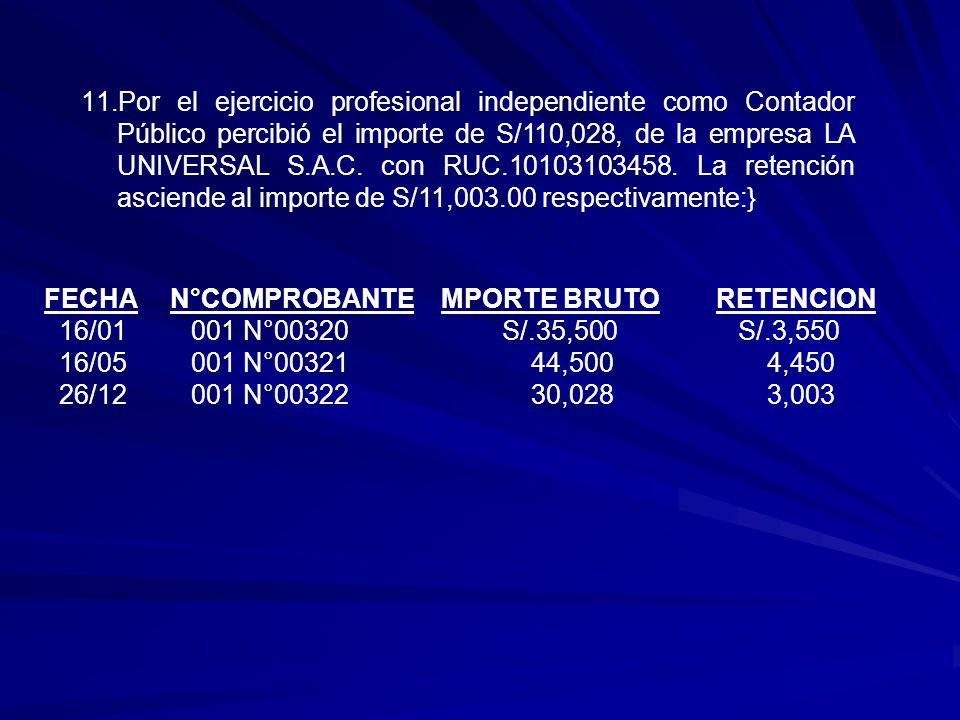 11.Por el ejercicio profesional independiente como Contador Público percibió el importe de S/110,028, de la empresa LA UNIVERSAL S.A.C.
