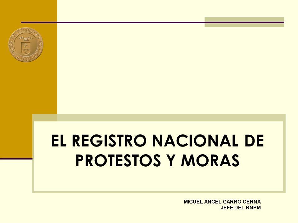 EL REGISTRO NACIONAL DE PROTESTOS Y MORAS MIGUEL ANGEL GARRO CERNA JEFE DEL RNPM