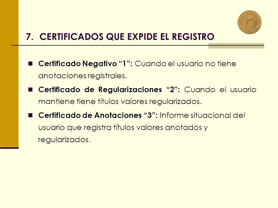 Certificado Negativo 1: Certificado Negativo 1: Cuando el usuario no tiene anotaciones registrales.