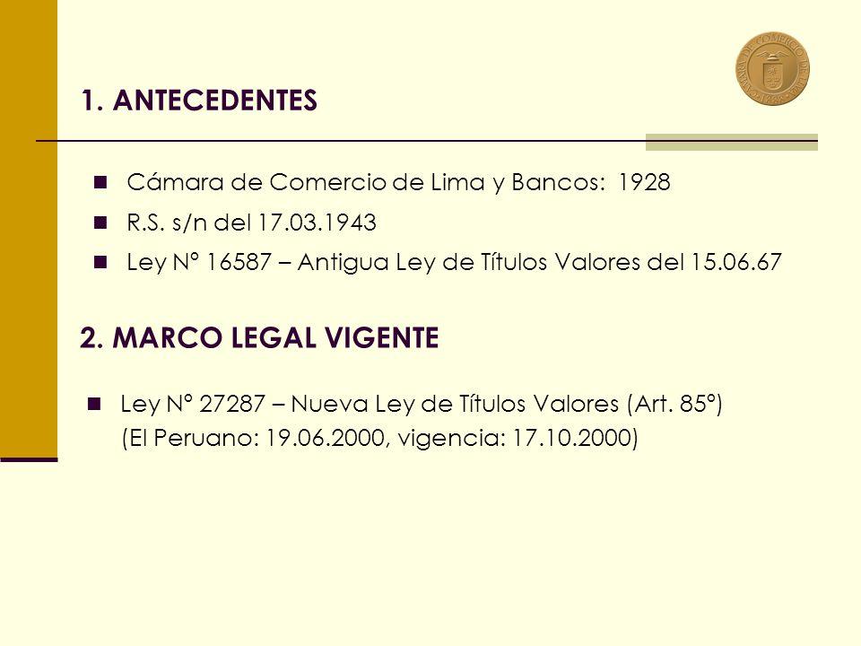 1.ANTECEDENTES Cámara de Comercio de Lima y Bancos: 1928 R.S.