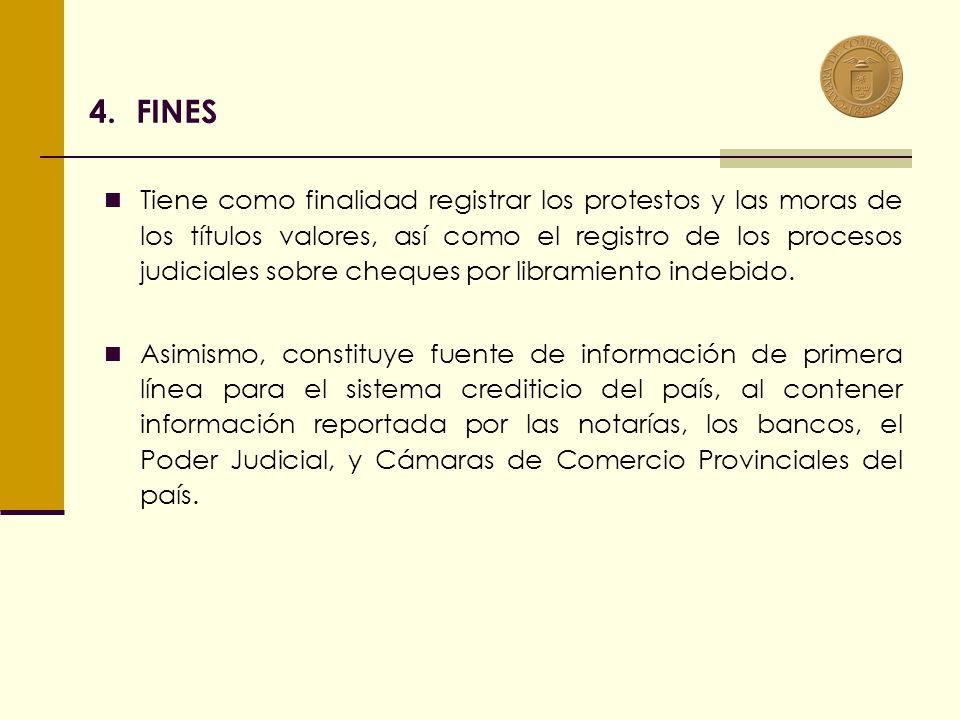 4.FINES Tiene como finalidad registrar los protestos y las moras de los títulos valores, así como el registro de los procesos judiciales sobre cheques por libramiento indebido.