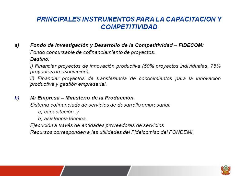 PRINCIPALES INSTRUMENTOS PARA LA CAPACITACION Y COMPETITIVIDAD a) Fondo de Investigación y Desarrollo de la Competitividad – FIDECOM: Fondo concursable de cofinanciamiento de proyectos.