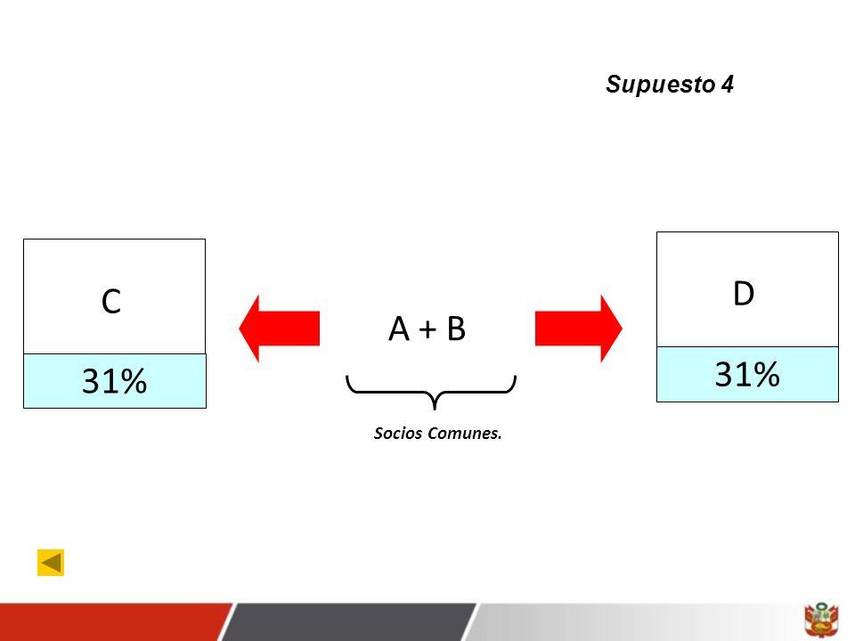 31% C D A + B Socios Comunes. Supuesto 4