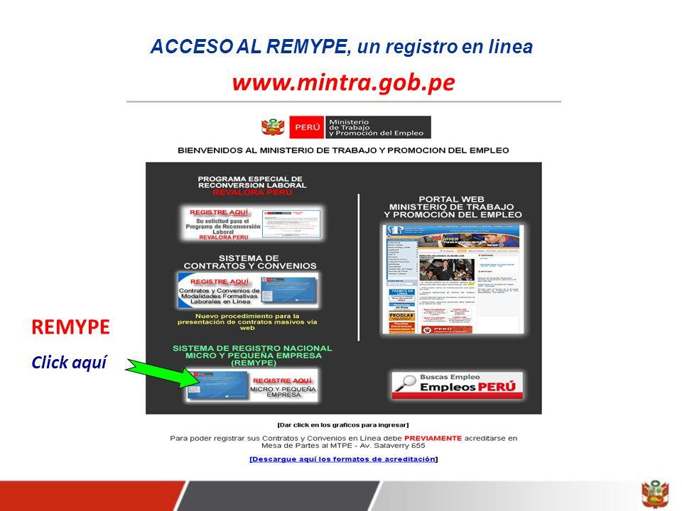 ACCESO AL REMYPE, un registro en linea www.mintra.gob.pe REMYPE Click aquí