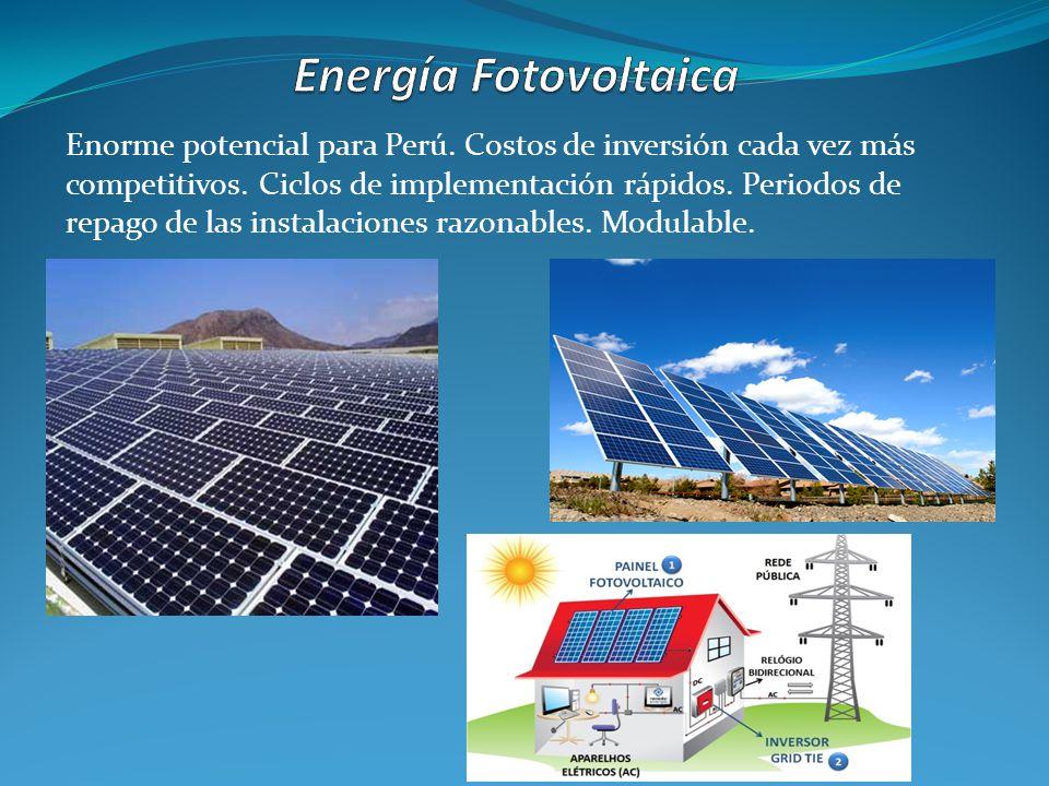 Enorme potencial para Perú. Costos de inversión cada vez más competitivos. Ciclos de implementación rápidos. Periodos de repago de las instalaciones r