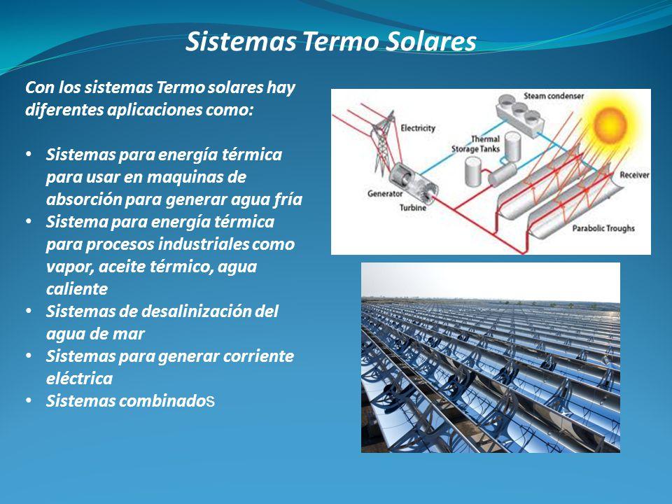 Sistemas Termo Solares Con los sistemas Termo solares hay diferentes aplicaciones como: Sistemas para energía térmica para usar en maquinas de absorci