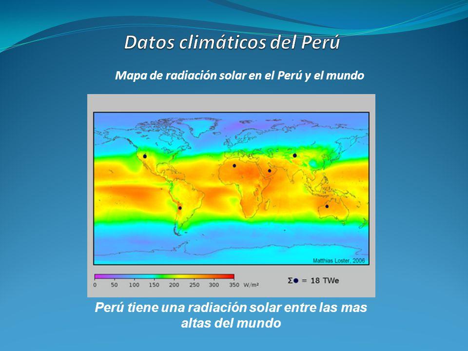 Mapa de radiación solar en el Perú y el mundo Perú tiene una radiación solar entre las mas altas del mundo