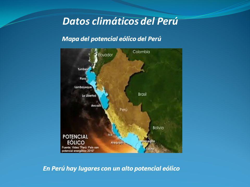Mapa del potencial eólico del Perú En Perú hay lugares con un alto potencial eólico
