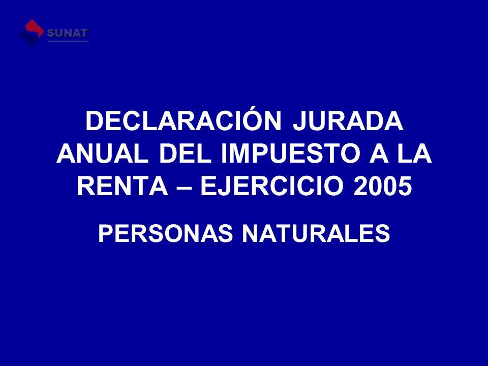 DECLARACIÓN JURADA ANUAL DEL IMPUESTO A LA RENTA – EJERCICIO 2005 PERSONAS NATURALES SUNAT