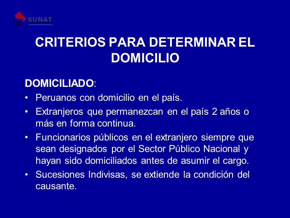 CRITERIOS PARA DETERMINAR EL DOMICILIO DOMICILIADO: Peruanos con domicilio en el país. Extranjeros que permanezcan en el país 2 años o más en forma co