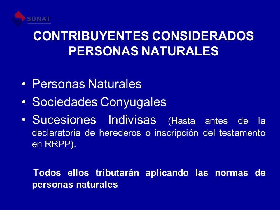 CONTRIBUYENTES CONSIDERADOS PERSONAS NATURALES Personas Naturales Sociedades Conyugales Sucesiones Indivisas (Hasta antes de la declaratoria de herede