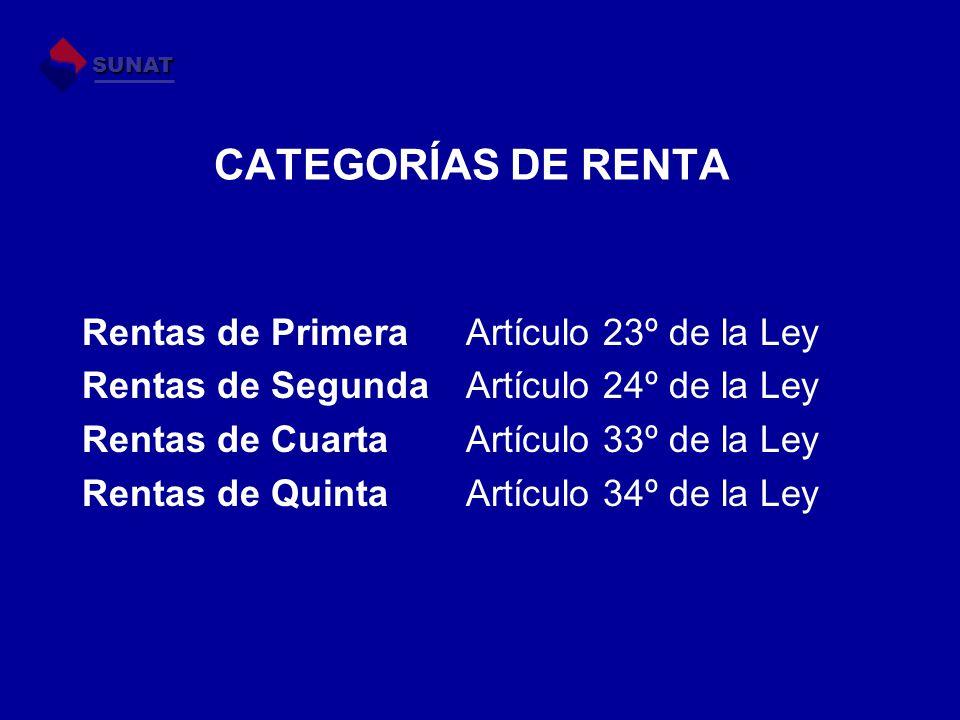 CATEGORÍAS DE RENTA Rentas de Primera Artículo 23º de la Ley Rentas de Segunda Artículo 24º de la Ley Rentas de Cuarta Artículo 33º de la Ley Rentas d