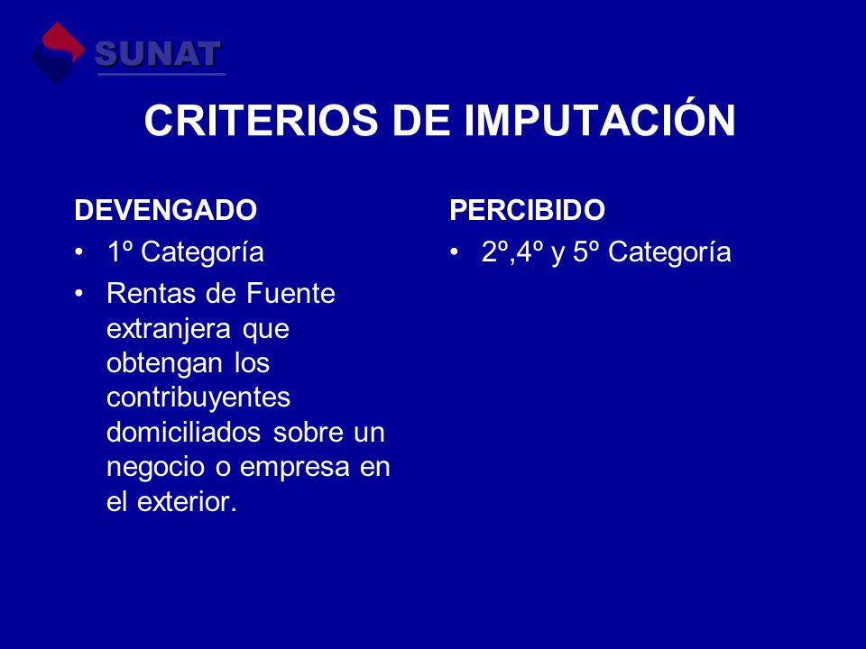 CRITERIOS DE IMPUTACIÓN DEVENGADO 1º Categoría Rentas de Fuente extranjera que obtengan los contribuyentes domiciliados sobre un negocio o empresa en