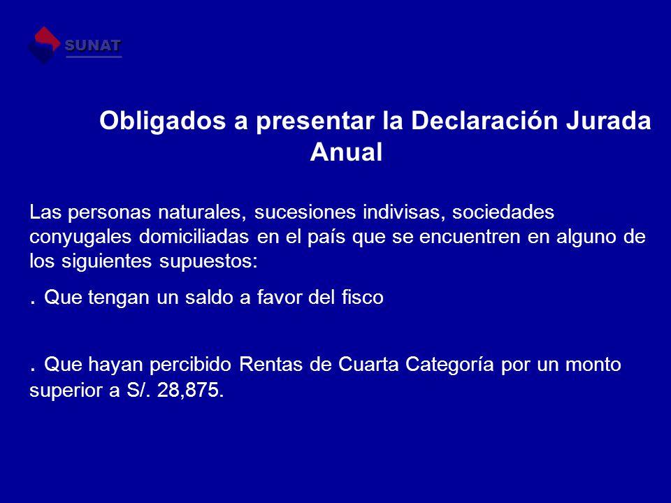 Obligados a presentar la Declaración Jurada Anual Las personas naturales, sucesiones indivisas, sociedades conyugales domiciliadas en el país que se e