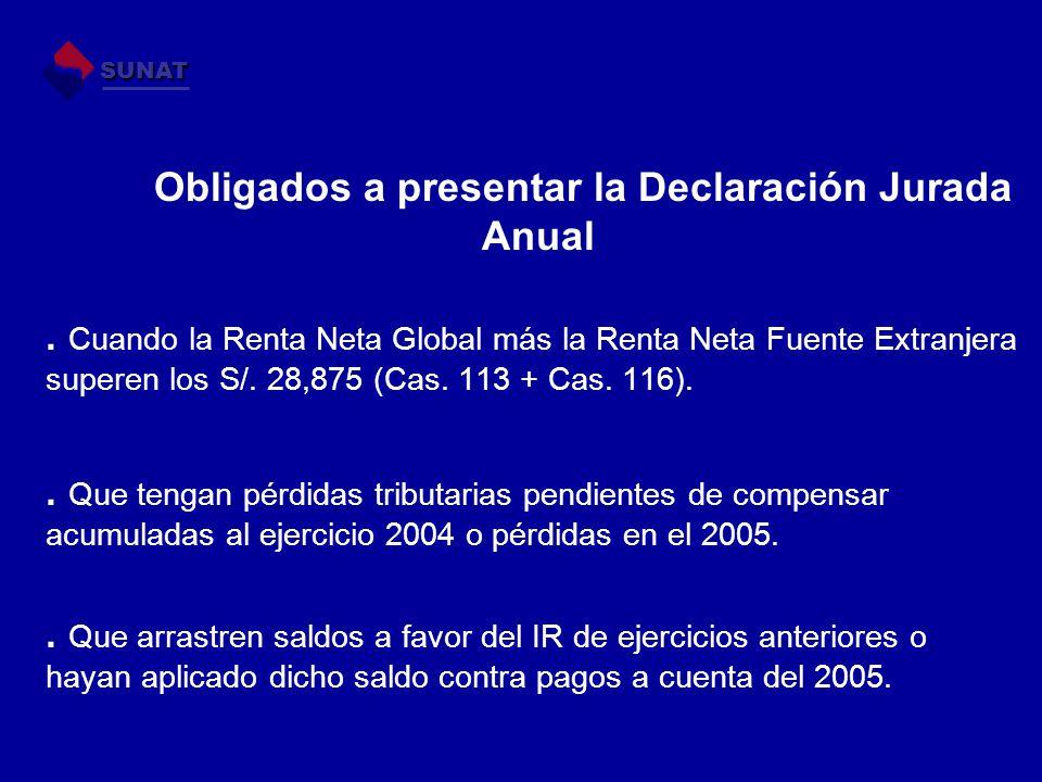 Obligados a presentar la Declaración Jurada Anual. Cuando la Renta Neta Global más la Renta Neta Fuente Extranjera superen los S/. 28,875 (Cas. 113 +