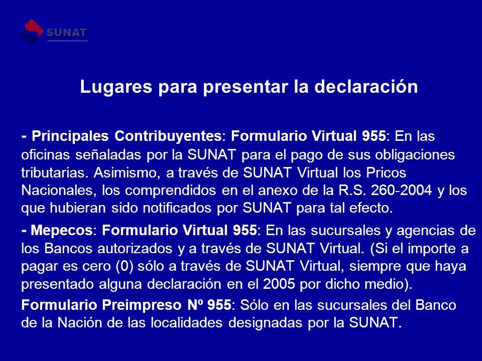 Lugares para presentar la declaración - Principales Contribuyentes: Formulario Virtual 955: En las oficinas señaladas por la SUNAT para el pago de sus
