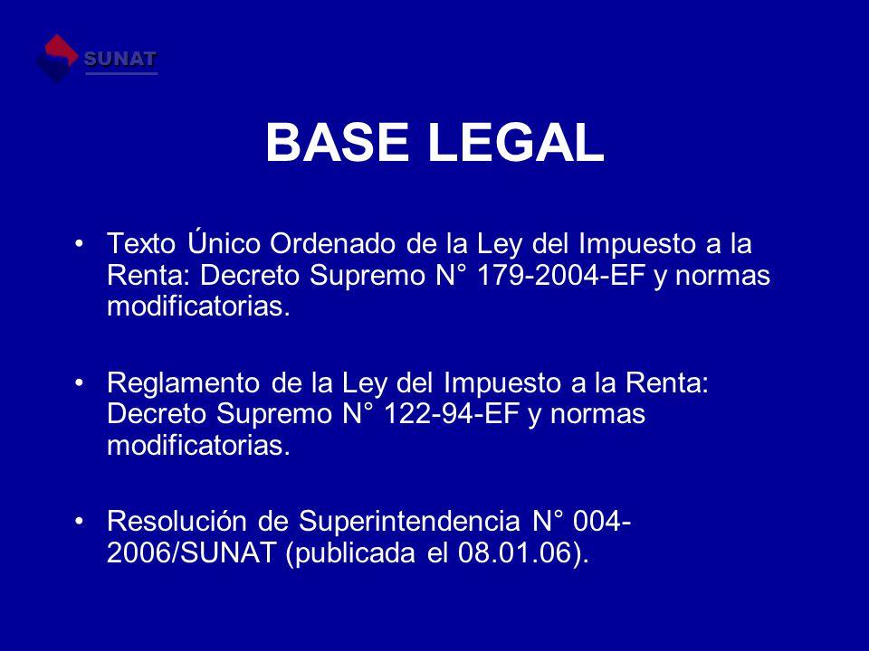 BASE LEGAL Texto Único Ordenado de la Ley del Impuesto a la Renta: Decreto Supremo N° 179-2004-EF y normas modificatorias. Reglamento de la Ley del Im