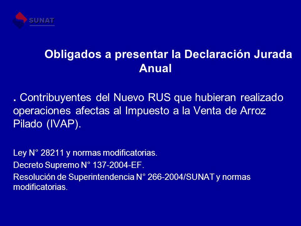 Obligados a presentar la Declaración Jurada Anual.