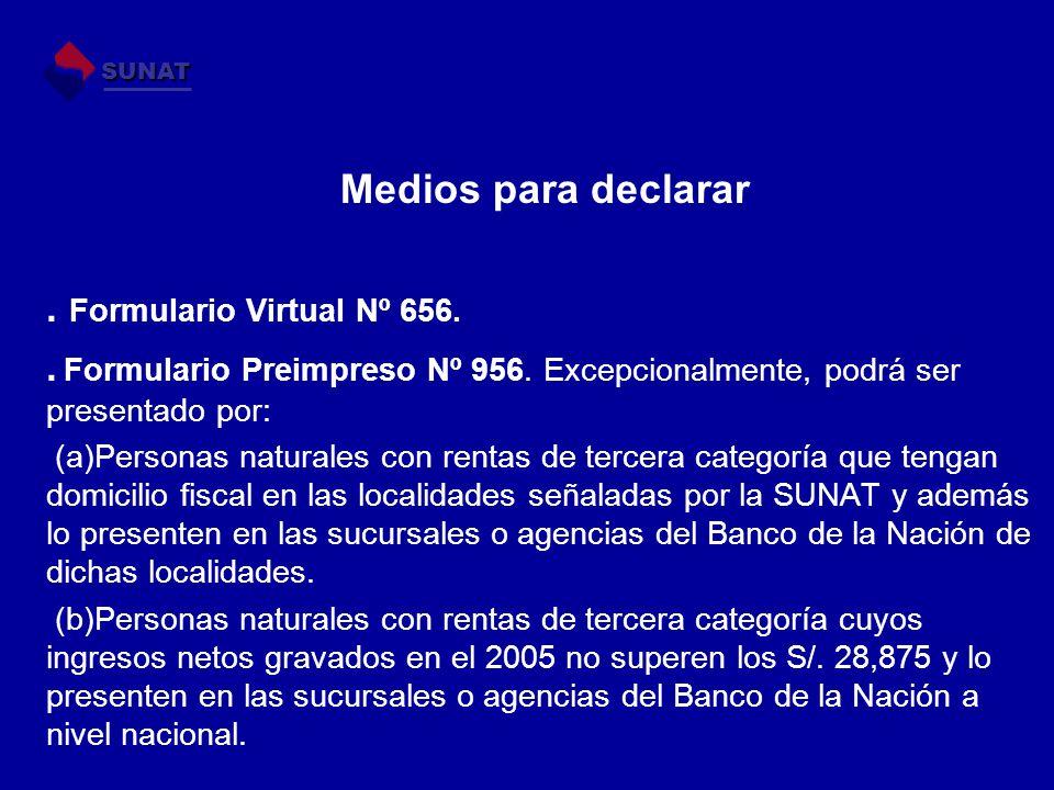 Medios para declarar. Formulario Virtual Nº 656.. Formulario Preimpreso Nº 956. Excepcionalmente, podrá ser presentado por: (a)Personas naturales con